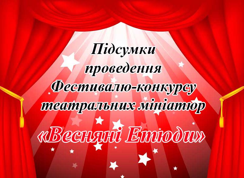 Підсумки Фестивалю-конкурсу театральних мініатюр «Весняні Етюди»